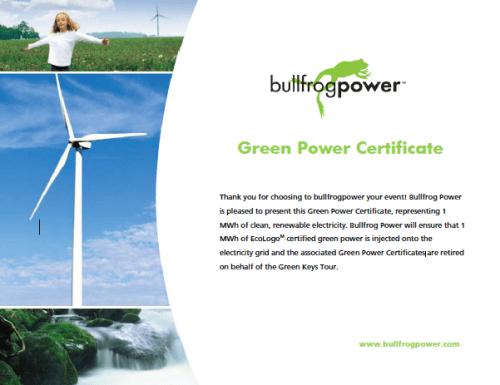 Green Power Certificate - The Green Keys Tour
