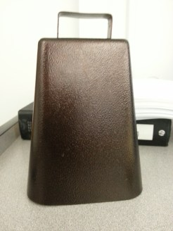Cow bell used to call the class to attention. Yes, it works! Photograph by Rosemary Irvine