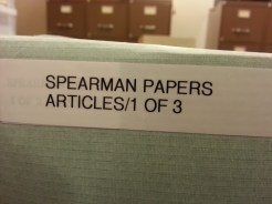 Spearman Papers box of 1 of 3 at Mount St. Mary's College Archives. Photograph by Rosemary Irvine