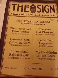 "MSMC Archive magazine ""The Sign"" featuring ""The Road to Sodom"" by Frank H. Spearman (1931). Photograph by Rosemary Irvine"