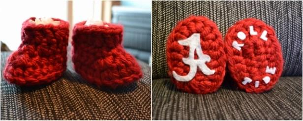 Crochet Baby Booties - Roll Tide