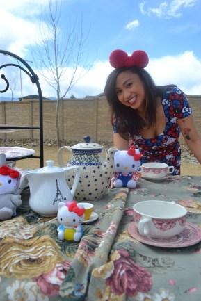 Tea party set with hello kitty