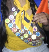 Printed badge buttons on a felt sash