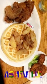 Chicken and Waffles with fried apples on the waffle