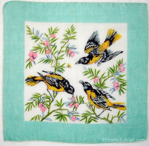"Charming Orioles, 13"" x 13 1/2"""