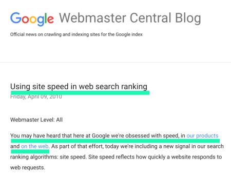 網站速度:Google 排名因素之一