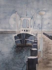 Warten im Hafen (c) Aquarell von FRank Koebsch