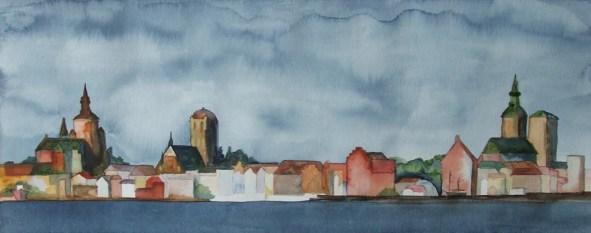 Panorama Stralsund (c) Aquarell von Frank Koebsch