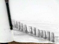 Blick in ein Skizzenbuch - Buhnen am Kühlungsborner Strand (c) Frank Koebsch (2)