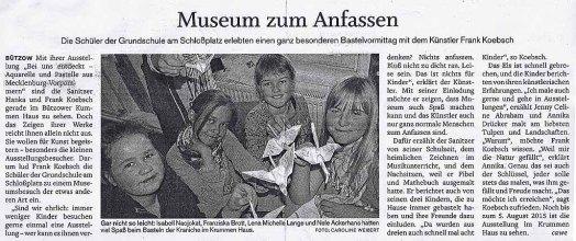 Museen zum Anfassen - die SVZ berichten über den Besuch von Kindern in unserer Ausstellung