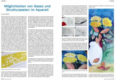 Möglichkeiten von Gesso und Strukturpasten im Aquarell - Artikel von Frank Koebsch in der Palette 2016 - 1 Seite 30