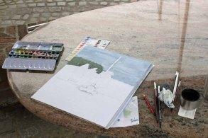 Ein Aquarell entsteht im Hafen von Seedorf (c) Frank Koebsch
