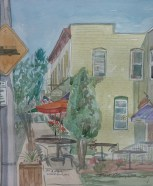 """SOLD - """"1st and Main, Waterford, WI,"""" Watercolor on Paper, $100"""