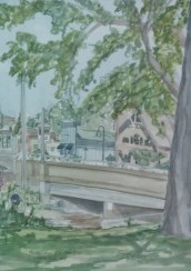 """SOLD - """"Bridge Over the Fox River, Waterford, WI,"""" Watercolor on Paper, $100"""