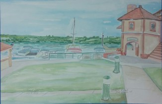 """""""Riviera and East,"""" 12"""" x 24"""", Watercolor on Paper, 2015, $150"""