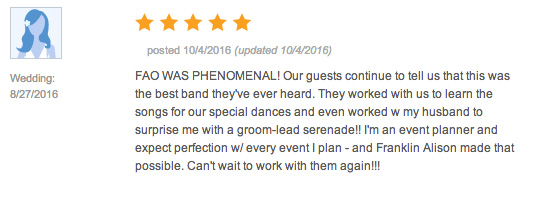 Review from a wedding on 08/27/2016