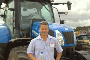 Marcus Greenwood of Norwood Farming Machinery cools off under the Pukekawa sun.