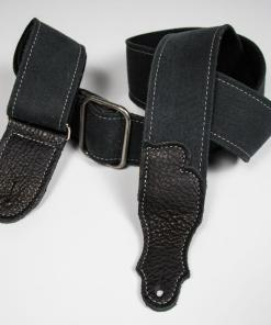 Distressed Canvas Guitar Strap - Leather End Tab