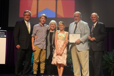 Brian Beathard, Business Legacy Award winner Mary Pearce, her grandchildren Andrew and Evie, Ed Silva and Julian Bibb