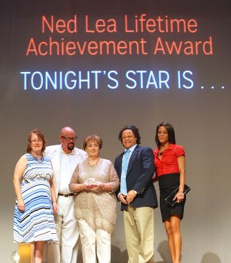 The late Tommy Murdic was honored July 22, 2105, with a Ned Lea Lifetime Achievement Award, presented by Franklin Tomorrow at its Community Volunteer Awards ceremony at Franklin Theatre. Two of Murdic's three children, Nick and Kathy, accept the award from Franklin Tomorrow Executive Director Mindy Tate, nominator Robert Hicks, and Franklin Tomorrow Board President Kathie Moore.