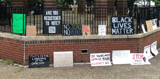 "Picture taken by Pastor Jacob at the ""Kneel for Nine"" demonstration on the Franklin Town Common on Tuesday, June 2, 2020."