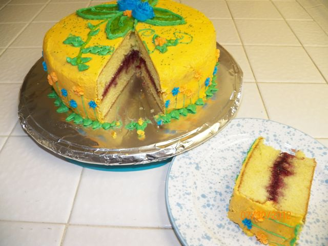 two layer, vanilla, cake, raspberry, filling, yellow, flower, garden, frosting