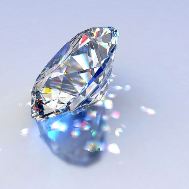 Loose Diamond refracting light sparkles