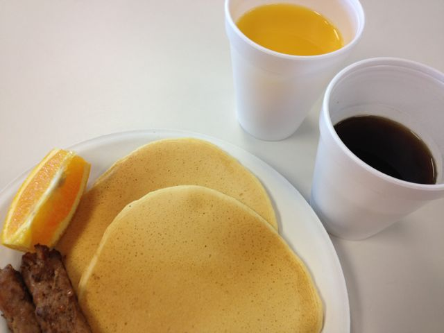 Pancakes, Sausage, Orange Juice and Coffee