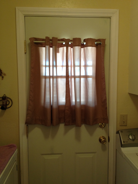 Laundry Room Door with Curtains