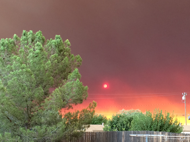 Blue Cut Fire, Day 1. Around 6:50 pm, Backyard at Bedford Manor, Hesperia, CA.