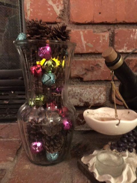 Frankly, My Dear . . . : Pine Cones and Jingle Bells in Clear Vase