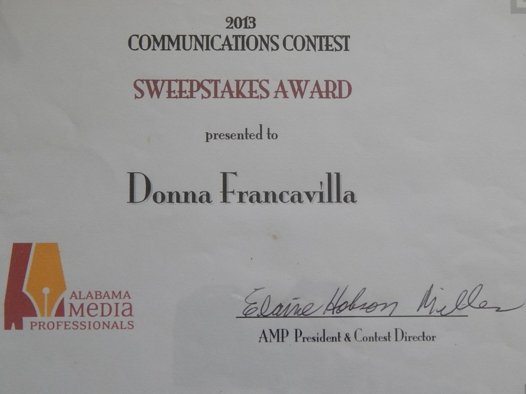 2013 Alabama Media Professionals Communications Contest Award - State Award - Sweepstake Award presented to Donna Francavilla