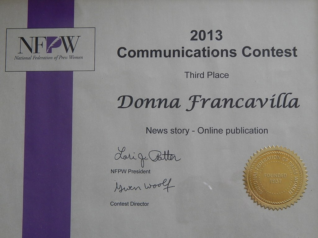2013 National Federation of Press Women Communications Award - National Award - Third Place -  News story - Online Publication