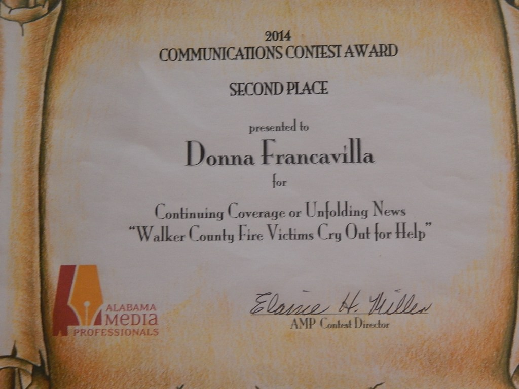 """2014 Alabama Media Professionals Communications Contest Award - State Award - Second Place presented to Donna Francavilla for Continuing Coverage or Unfolding News -  """"Walker County Fire Cry Out For Help"""""""
