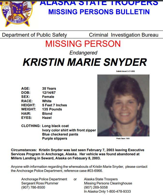 Image result for kristin snyder alaska state police missing person report