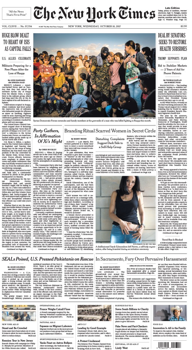 New York Times Front Page Oct 18, 2017 – Frank Report ...