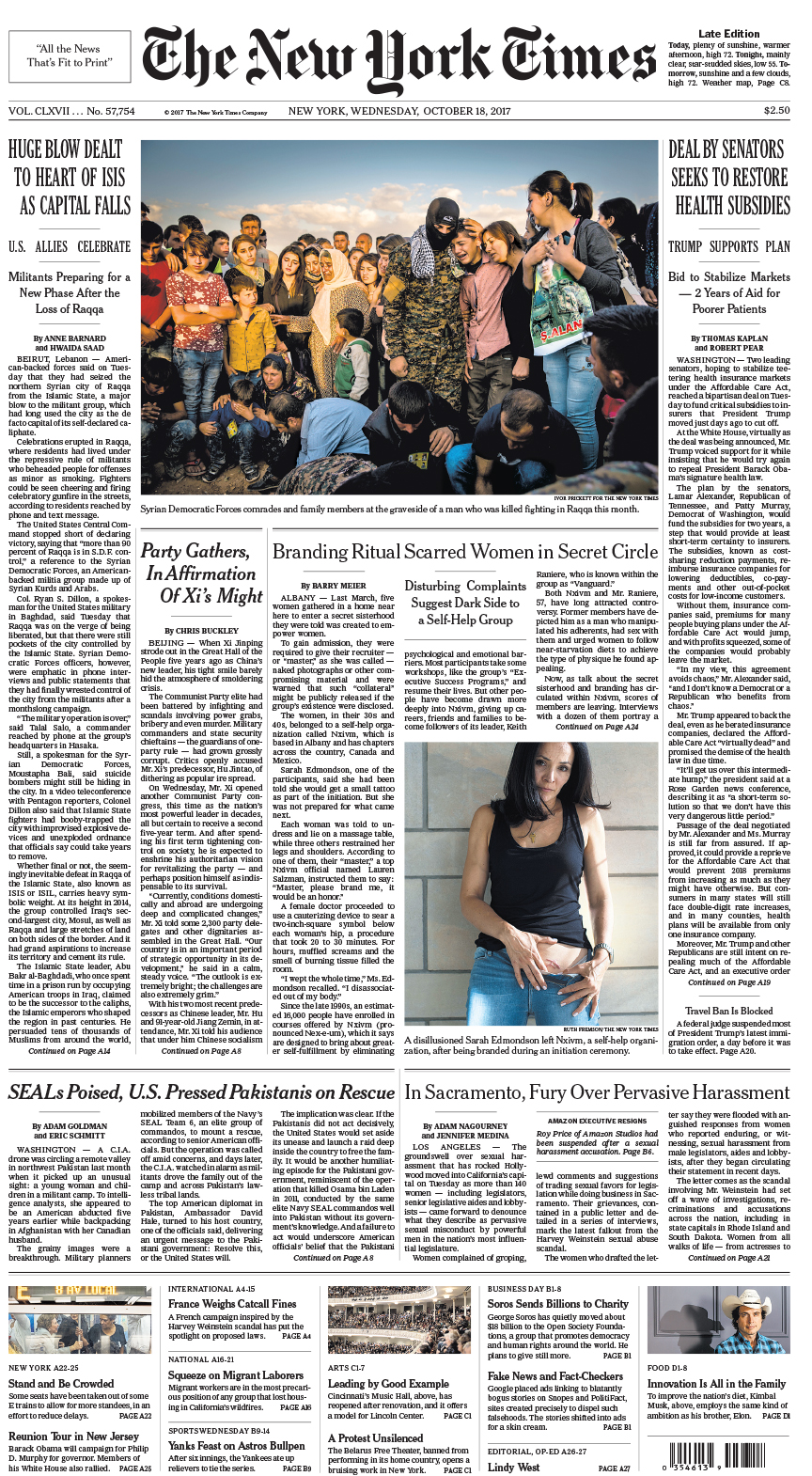 Front Pagenew York Times Design Of: New York Times Front Page Oct 18, 2017
