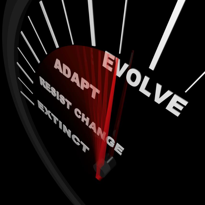 Speedometer with Needle focused on Evolve