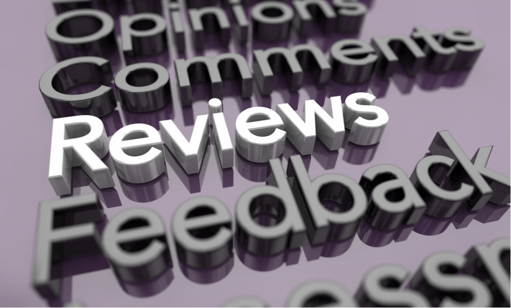 The word Reviews highlighted in white with other words greyed out