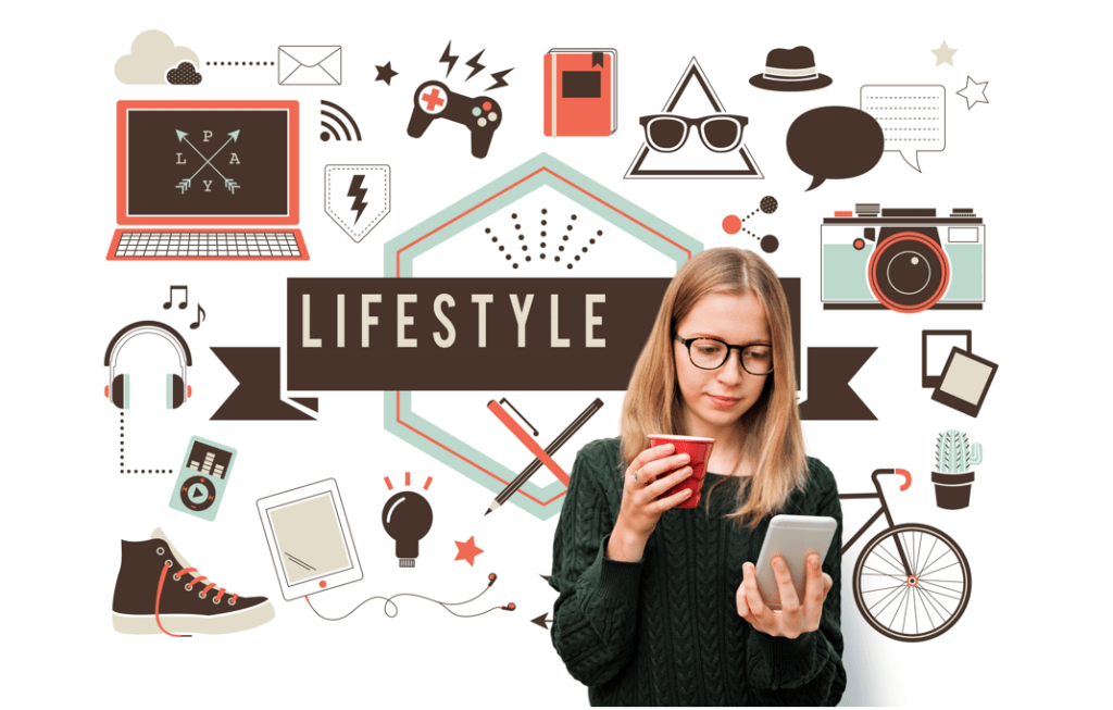 Women holding cell phone and coffee surrounded by social icons and the word lifestyle