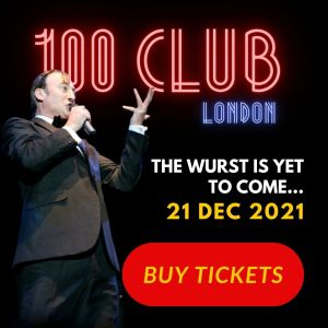 Comedian and comedy dictator Frank Sanazi singing in advert for Christmas Show at 100 Club london 2021