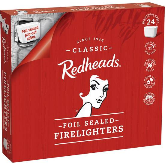 Redheads Foil-sealed Firelighters Fire Lighters 24 pack