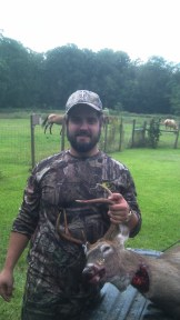 My brother killed his first deer taken with a bow today at Big Woods and brought it back here to our house.