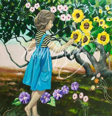 (Y775) Alice Talking to the Flowers 90 x 90 cm $400.00
