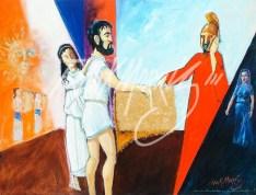 (Y611) Jason Gives a Shocked Pelias the Fleece 91 x 121 cm $400