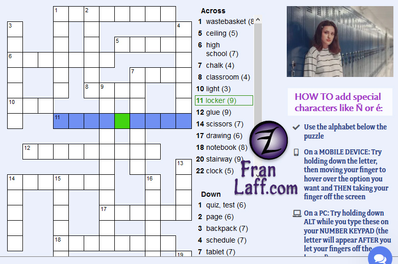 This is an image of Printable Spanish Crossword Puzzle intended for spanish vocabulary
