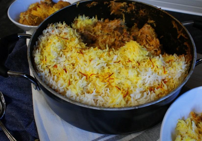Spiced beef with saffron rice crust recipe