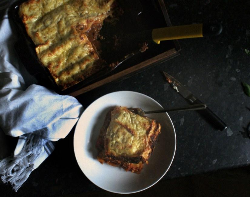 Lasagne serving