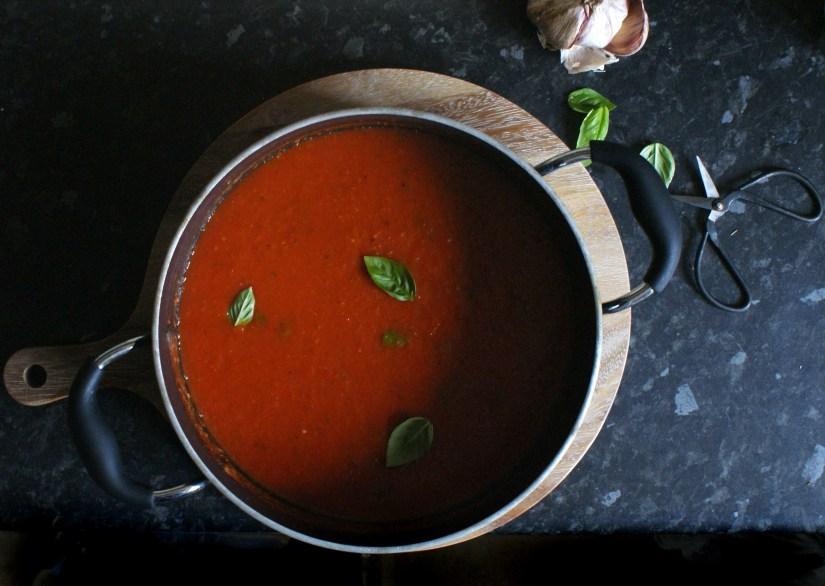 The finished pan of roasted tomato and pepper soup