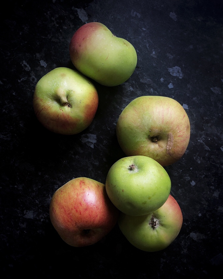 Home grown organic Bramley apples